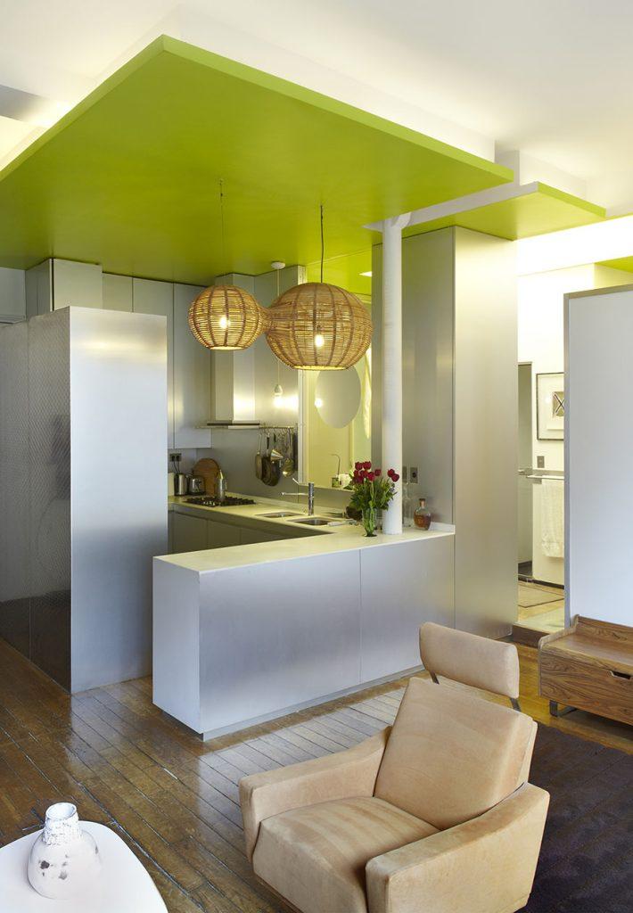 Plafond design vert décroché