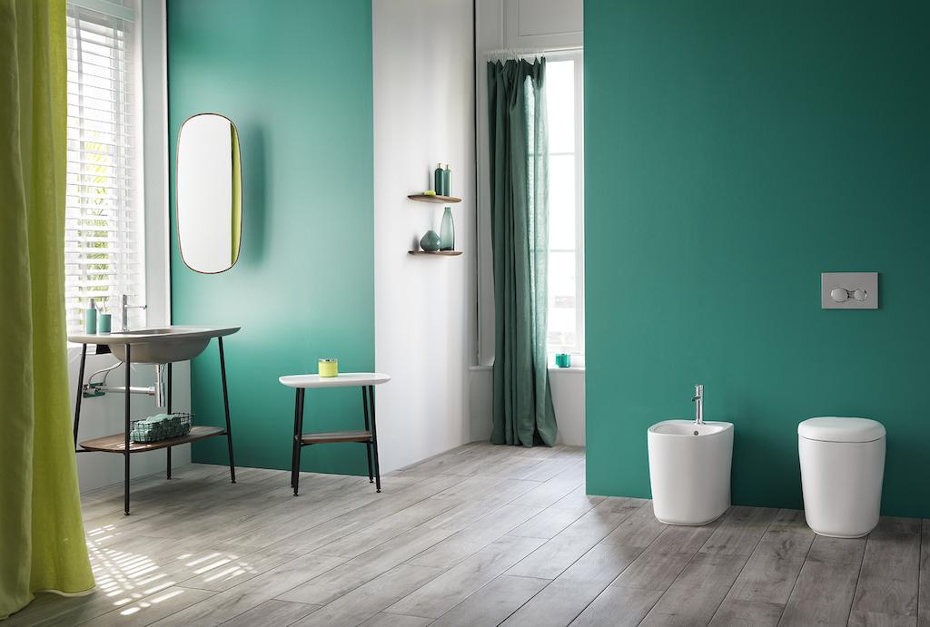 Salle de bain graphique et verte